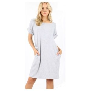 T-Shirt Dress with Pockets in Heather Gray